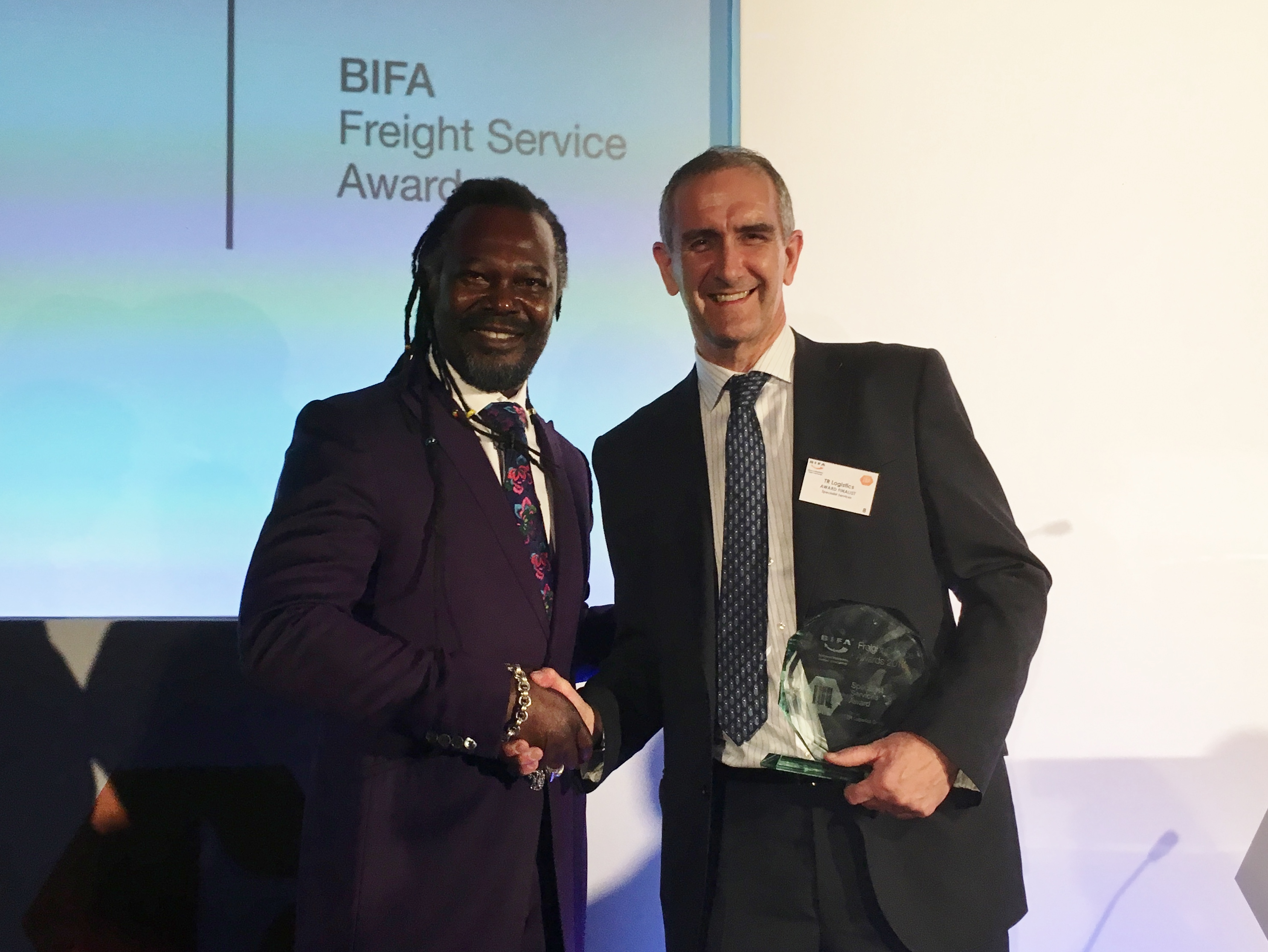 BIFA Awards 2017 - TR Logistics Paul McKeown and Levi Roots